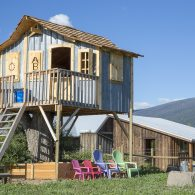 Treehouse and play-yard at the ABC acres Montana Permaculture farm.