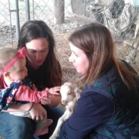 Young guest enjoying baby goats at Scurlock Farms