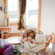 Breakfast table at the farmhouse